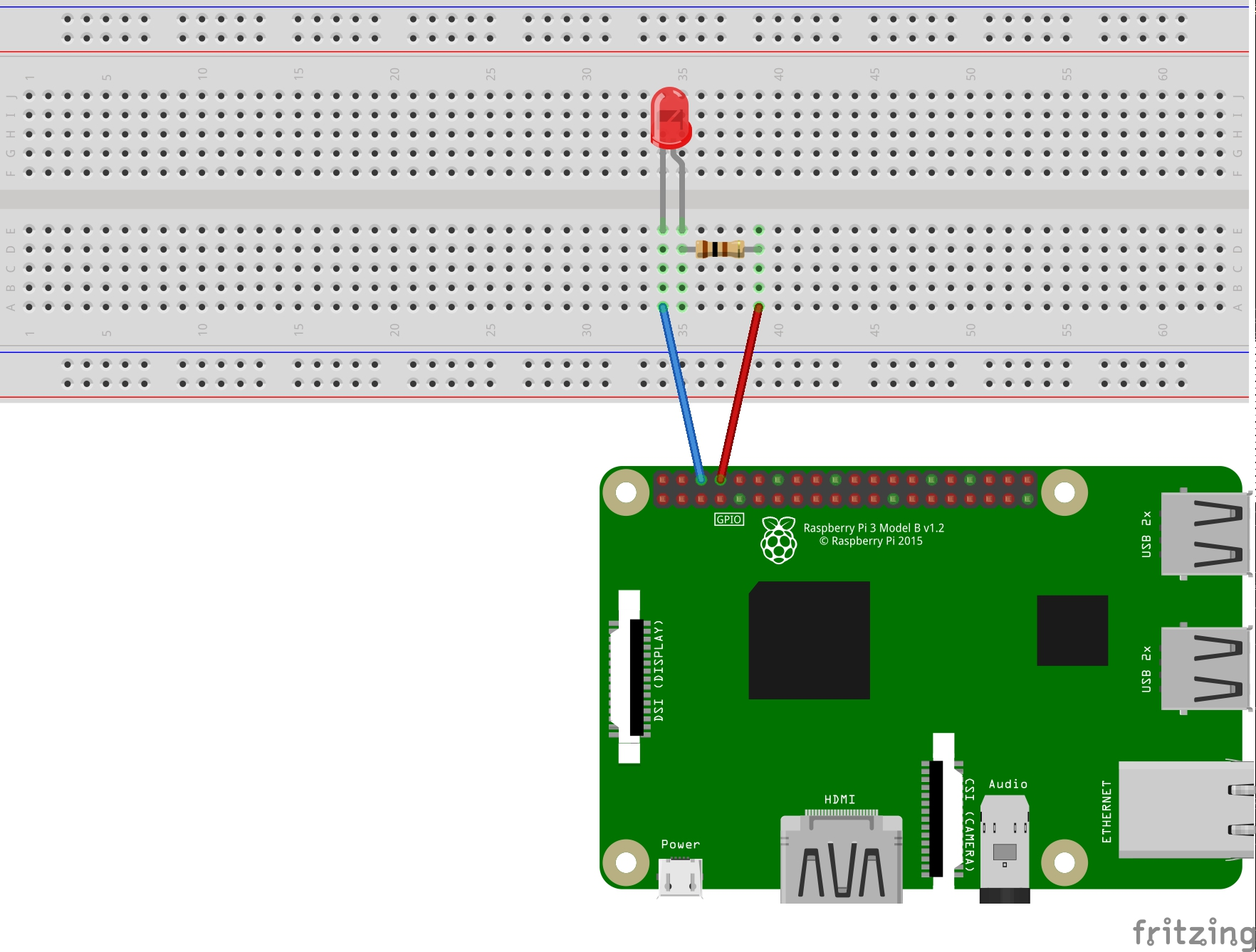 Making A Led Blink Using The Raspberry Pi And Python Hq 10 Wiring Diagram When Hooking Up Circuit Note Polarity Of You Will Notice That Has Long Short Lead Is Positive Side Also
